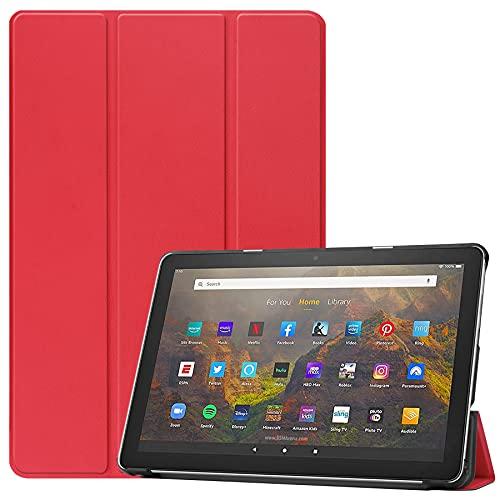NUPO Custodia per Amazon Fire HD 10 / HD 10 Plus 2021, cover in PU Leightweight con funzione di supporto, per Fire HD10 / HD10+ (solo compatibile con 11° generazione 2021), rosso