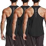 BALEAF Men's Y-Back Tank Top Running Workout Muscle Sleeveless Shirts 3 Pack Black Size M