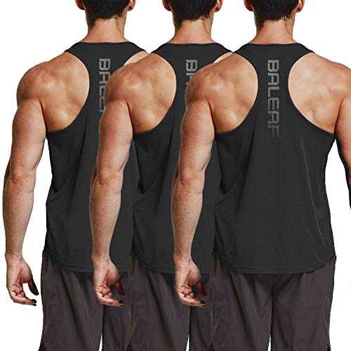 BALEAF Men's Y-Back Tank Top Running Workout Muscle Sleeveless Shirts 3 Pack Black Size L