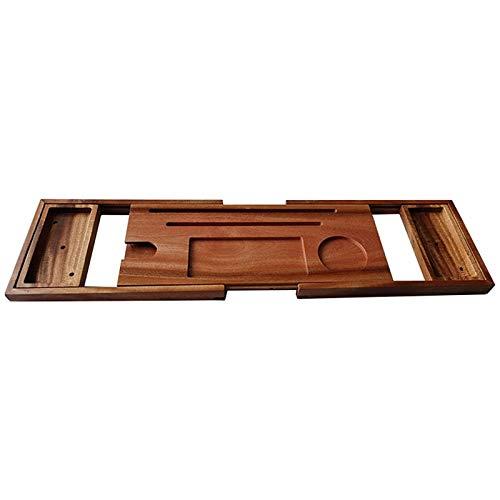 Bandeja de Carrito de Bañera Bandeja de Baño de Madera de Bambú y Carrito de Baño Puente de Baño Bandeja de Baño y Carrito de Baño Rejillas de Baño Multifuncionales para Baño 70-105x21x3cm