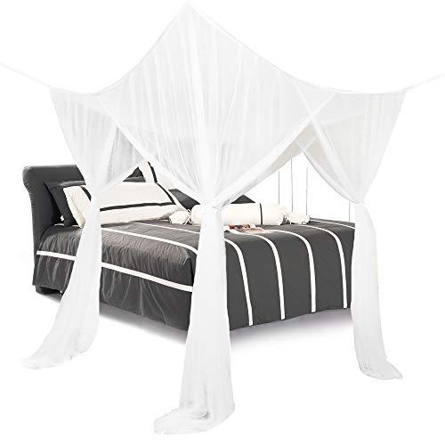 SearchI Mosquitera para Cama,Dosel Cuatro Esquinas para Cama Individual o Matrimonio Anti Mosquitos Cortinas de Doseles para Cama Mosquitera de Encaje para Dormitorio Accesorios para Cama Blanco