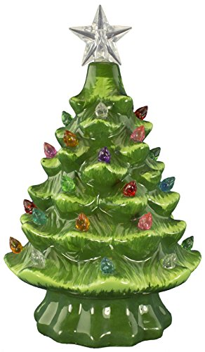 OPPORTUNITIES Christmas is Forever Ceramic Christmas Tree 7' Green with Multicolored Lights