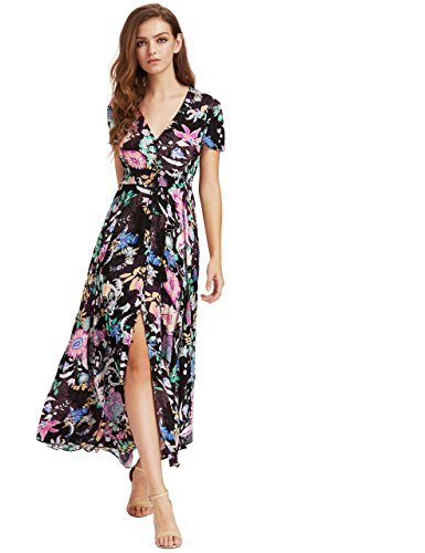 Milumia Women's Button up Split Floral Print Flowy Party Maxi Dress X-Large Black_Pink