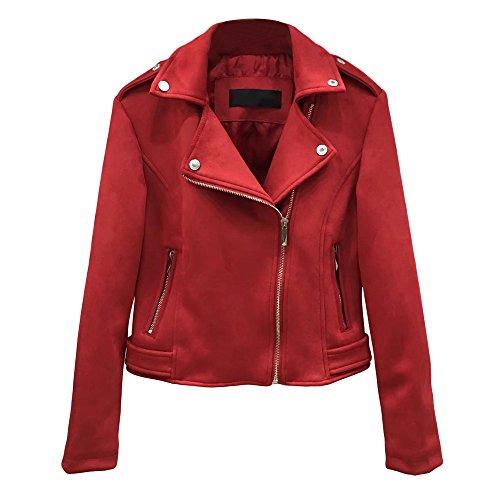 KaiCran Faux Leather Jacket Women Suede Motorcycle Jacket Leather Jackets Zipper Jacket (Red, Medium)