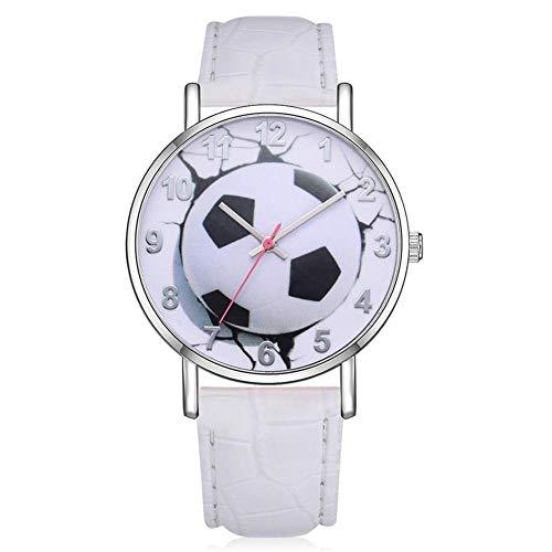 Dilwe dameshorloge, kwarts, voetbalmotief, wijzerplaat van PU-leer, legering, Arabische cijfers, armband (wit)