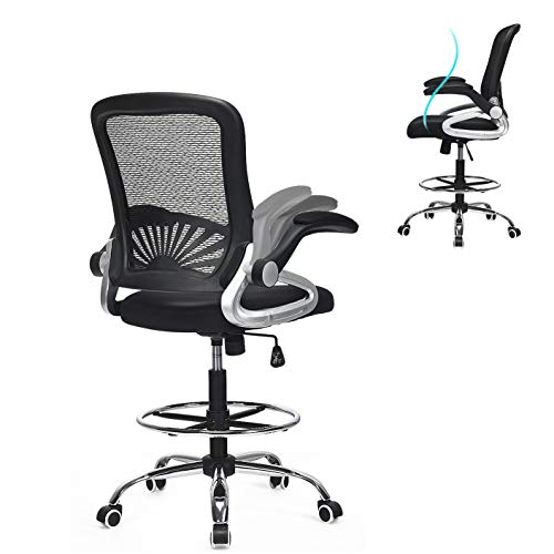 POWERSTONE Ergonomic Drafting Chair - Mesh Tall Office Chair Lumbar Support Adjustable Height Desk Chair with Foot Ring and Flip-Up Arms Computer Chair Stool