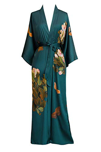Women's Charmeuse Kimono Robe Long - Watercolor Floral - Peony & Butterfly- Vintage Teal (Blue)