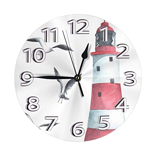 GOSMAO Round Wall Clock,Lighthouse Seagulls On The Beach,Desk Clock Home Decor for Kitchen Living Room Bedroom Office
