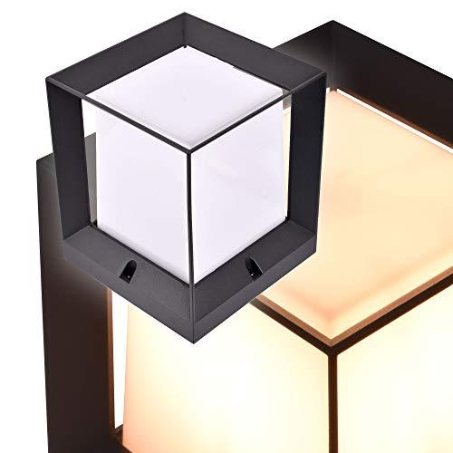 Kubische Design Aussenlampe Sockelleuchte Pfostenleuchte Pfeilerleuchte Aussenleuchte Standleuchte Wegeleuchte Gartenlampe würfelförmig PAX 1425A Anthrazit (Klein 160x187x160mm)