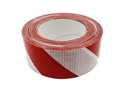 Nastro Striscia Distanza di Cortesia 5cm X 50 Metri Adesivo Pavimento Marcatura Delimitazione Zone Distanza Sicurezza Segnaletica (Bianco e Rosso)