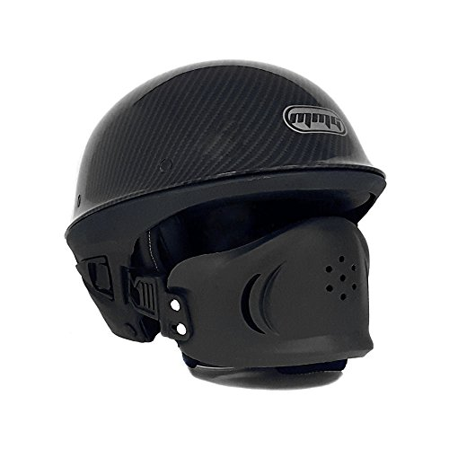 Motorcycle Street Half Helmet DOT with Adjustable Muzzle - VADER (XL, Carbon Fiber)
