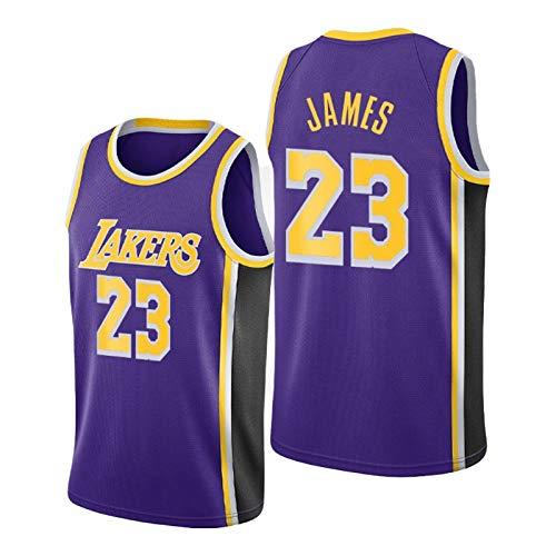 QPY Lèbrón Jāměs Jerseys de Baloncesto para Hombres, 2020-21 Lós Angèlěs Lākěrs Lèbrón Jāměs Swingman Declaración Jersey - Versión Bordada púrpura (S-XXL) XL