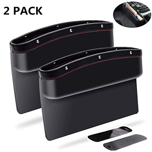 KONGDY Car Seat Pockets 2 Pack PU Leather Car Seat Gap Filler Console Side Organizer Storage Box for Car Interior Accessories Cellphone Wallet with Non-Slip Mat(2 Pack, Black)