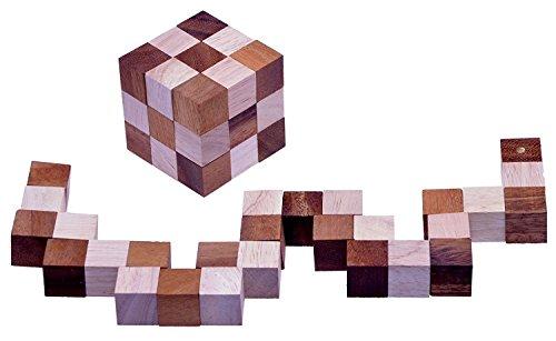 LOGOPLAY Schlangenwürfel 3x3 Gr. L - 7,5x7,5x7,5 cm - Snake Cube - Würfel Schlange - 3D Puzzle - Denkspiel - Knobelspiel - Geduldspiel - Logikspiel aus edlem Holz