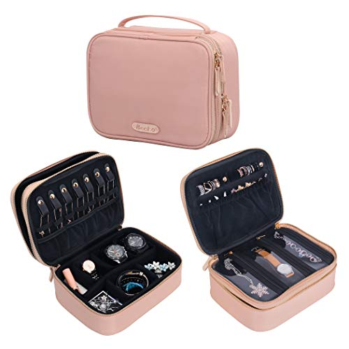 Becko Double Layer Jewel Organizer Bag case Travel Jewelry Roll for Multiple Necklaces Rings Bracelets Large Capacity Without Crease Lightweight Portable amp Practical  Pink