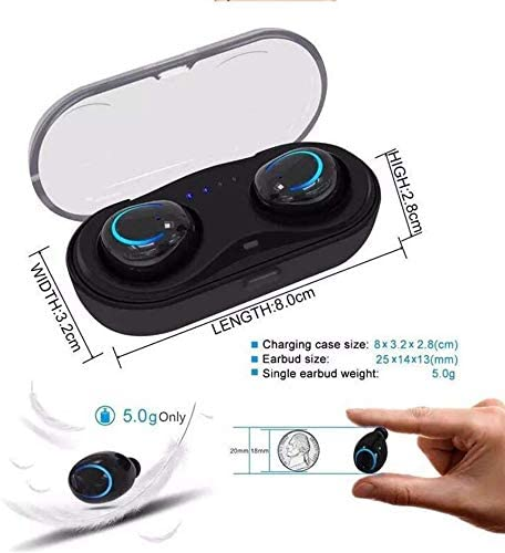 miwaimao Wireless Bluetooth Earbuds Invisible Mini Headphone Earphone Cordless Sport Headsets, Charging Case iOS Power Display,Black White