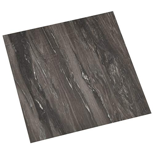 vidaXL 55x PVC-Fliesen Selbstklebend Vinyl-Fliesen Bodenbelag Vinylboden Laminat Dielen Laminatboden Fußboden Fliese Wohnzimmer 5,11m² Dunkelgrau