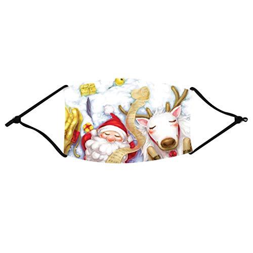 Christmas Mundschutz Waschbar Baumwolle Mund und Nasenschutz mit filters Premium Staubdicht Weihnachten Lustig Animalprint Mundbedeckung Elastische Ohrschlaufe Schlauchtuch Halstuch Face Cover