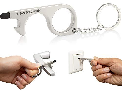 Mister Boncuk® | CLEAN TOUCH KEY | Berührungsloser Türöffner Schlüsselanhänger | Hygienischer Türöffner | Kontaktloser Türöffner | Desinfizierbares Hygienehaken | Kratzfrei Türöffnen (Silber)