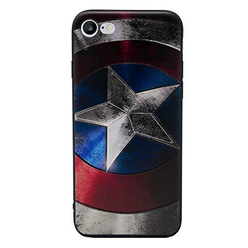 iPhone 6 Plus/6s Plus 3D Marvel Estuche de Silicona/Cubierta de Gel para Apple iPhone 6S Plus 6 Plus (5.5')/Protector de Pantalla y Paño/iCHOOSE/Captain America - Proteger