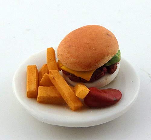 Melody Jane Puppenhaus Burger Chips und Tomaten Sauce Dinner Miniatur Zubehör