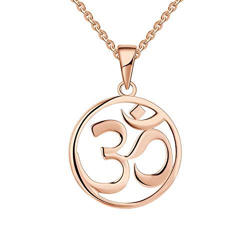 JO WISDOM Collares Colgante Om Aum Ohm Yoga Indio Plata de ley 925 Mujer Joyería (color oro rosa)