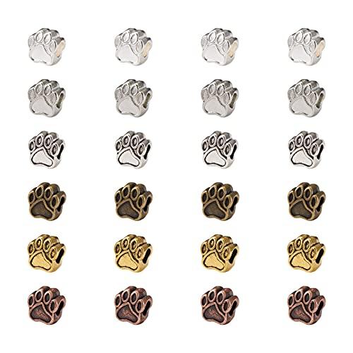 PandaHall 60 piezas de aleación de perro huellas de huellas de perlas estilo tibetano europeo 6 colores huellas huellas de huellas grandes agujeros para pulsera collar joyería