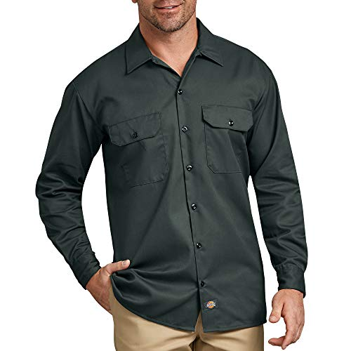 Dickies Men's Long Sleeve Work Shirt, Hunter Green, X-Large