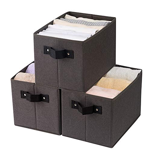 Qozary 3 Pack Sturdy Storage Baskets for Shelf, Fabric Storage Bins for Closet Organization, Large Collapsible Cube Boxes with Handles for Organizing Home Closet, Office, Toys (Dark-Grey)