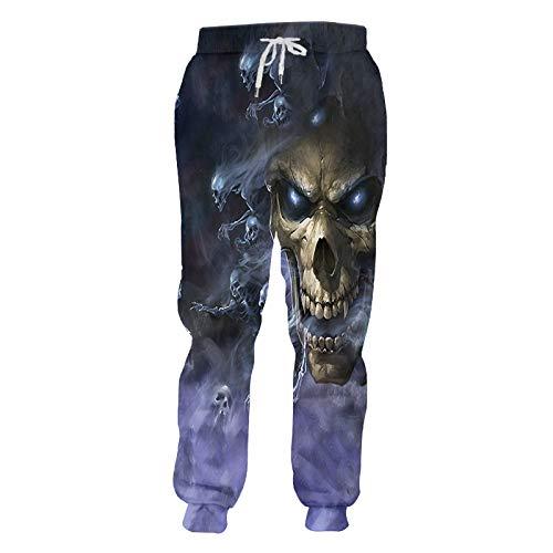 Unisex 3D Estampado Pantalones De Chándal,Pantalones De Jogging Deportivos Unisex Pantalones De Calavera De Terror De Colores Divertidos Pantalones De Novedad Con Estampado 3D Pantalones De Chá