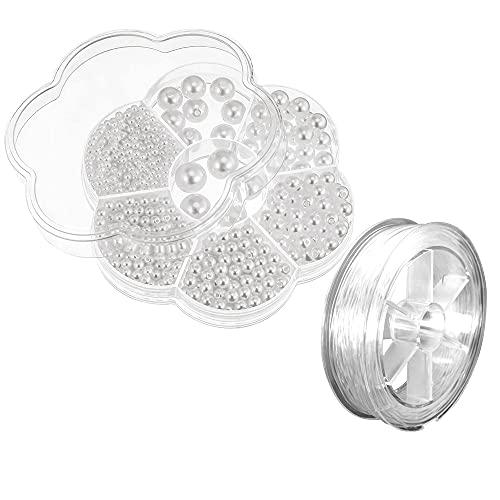 1150 cuentas de imitación de plástico blanco, 100 m de cuerda de pulsera de cristal, para pendientes, anillos, suministros de joyería, 3/4/5/6/8/10/12 mm