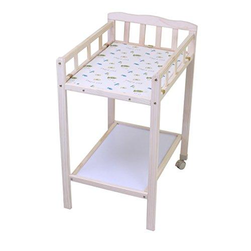 Table à Langer 0~5 Mois Baby Pine Table de Massage en Bois Table à roulettes avec roulettes Table de Douche Amovible Table à Langer 63 Cm Long 50 Cm Large 88 Cm Haute Charge 15 Kg