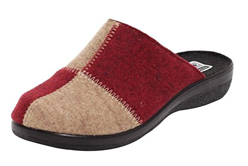 Dynamic24 Wörishofer Hausschuhe für Damen Filz Slipper Schuhe Pantoletten Pantoffel Komfortschuhe ROT BEIGE Gr. 39