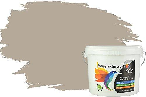 RyFo Colors Bunte Wandfarbe Manufakturweiß Kieselgrau 6l - weitere Grau Farbtöne und Größen erhältlich, Deckkraft Klasse 1, Nassabrieb Klasse 1