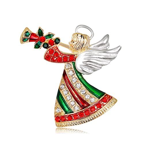 SONGWEN Pin de Navidad Lindo Dibujos Animados Esmalte ángel Hadas Broche Dama Linda Colorido Diamantes de imitación Figura