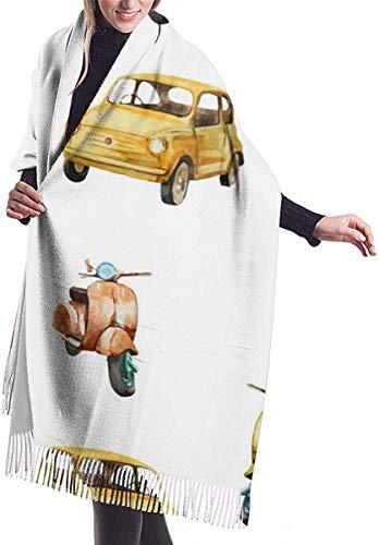 Imitar cachemira sensación invierno bufanda pashmina mantón envuelve suave manta caliente bufandas elegante abrigo para las mujeres acuarela retro scooter y coche patrón