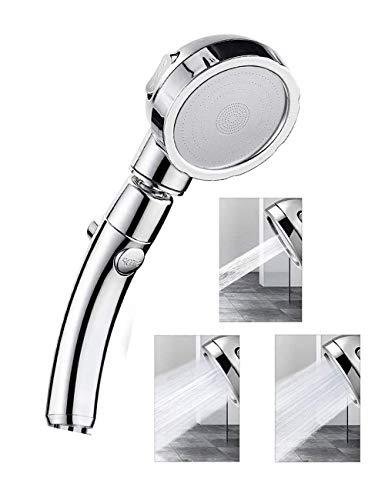 Diker Cabezal de ducha, ducha de mano con interruptor de pausa de encendido/apagado 3 configuraciones de ducha, ahorro de agua de alta presión giratorio de 360 °, accesorios universales para baño