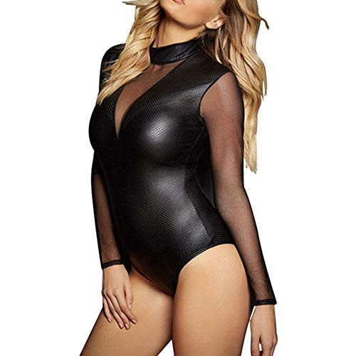 Wonder Pretty Womens Long Mesh Sleeve Latex Bodysuit Faux Leather Zipper Transparent Vinyl Catsuit Lingerie Black
