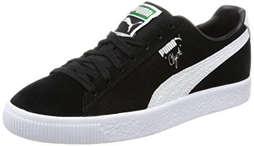 Puma Clyde B & C Viola Camoscio Unisex Sneakers Scarpe, Puma Black-Puma White