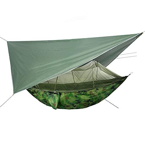 YYL Hamaca de Camping Individual/Doble con Cubierta de Lluvia de Lona 102'x 55' Mosquitera y Mosquitera Extraíbles (Color : Style1)