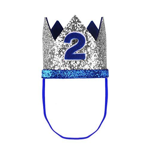 TiaoBug 1. Geburtstag Party Kronen mit Zahlen Baby Junge Mädchen 1 jahr Party Kopfschmuck Hut Prinzessin Prinz Kronen Dekoration Zubehör Accessoires für Fotoshooting Blau Silber One Size