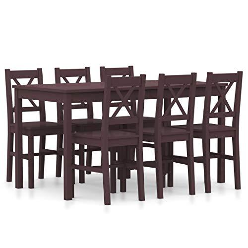UnfadeMemory 7-TLG. Essgruppe mit 6 Stühlen & Esstisch Kiefernholz Esszimmergruppe Esszimmertisch Küchenstuhl Set Polsterstuhl für Esszimmer Küche & Wohnzimmer (Dunkelbraun)