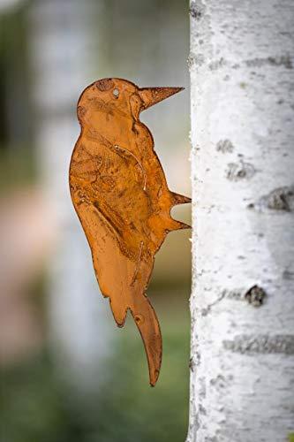 Figura decorativa de pájaro con púas para madera (metal, grande)