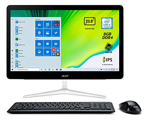 Acer Aspire Z24-880 All in One con procesador Intel Core i5-7400T, Pantalla 23.8' Full HD, RAM 8 GB DDR4, SSD 256 GB, Tarjeta gráfica Intel UHD, Teclado y ratón...