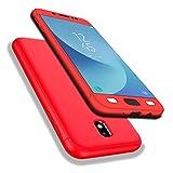 AIsoar - Funda para Samsung Galaxy J7 2017, Galaxy J7 2017, cobertura de 360 grados, Full Body Protección 3 en 1, diseño fino, antigolpes y protección completa para Samsung Galaxy J7 2017 J730 rojo M
