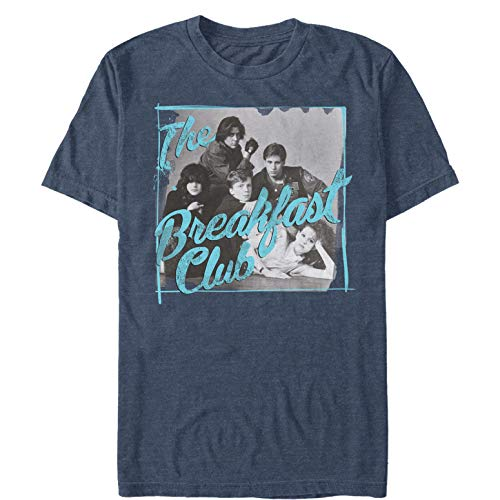 Men's The Breakfast Club Grayscale Character Pose T-Shirt, Navy Blue Heather, S to 5XL