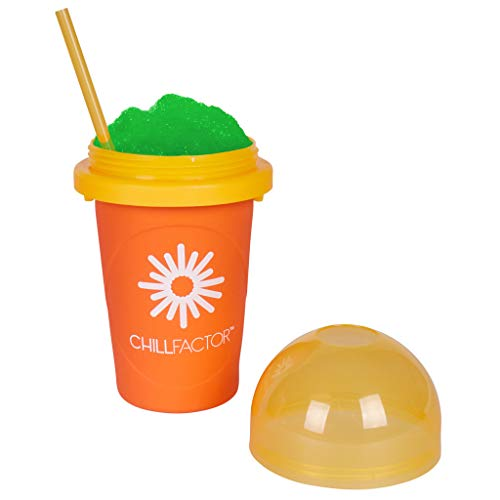 Slushy Maker Chillfactor Magic Freez | Slush Ice Becher mit Strohhalmlöffel | Eisbecher Glas Alternative für Eis selber machen | Slush Ice Maker (Orange)