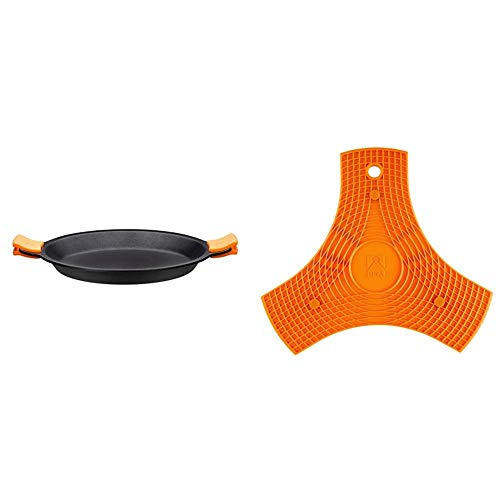BRA Paellera, Negro, 32 cm + Salvamanteles, Silicona, Naranja, 2 unidades