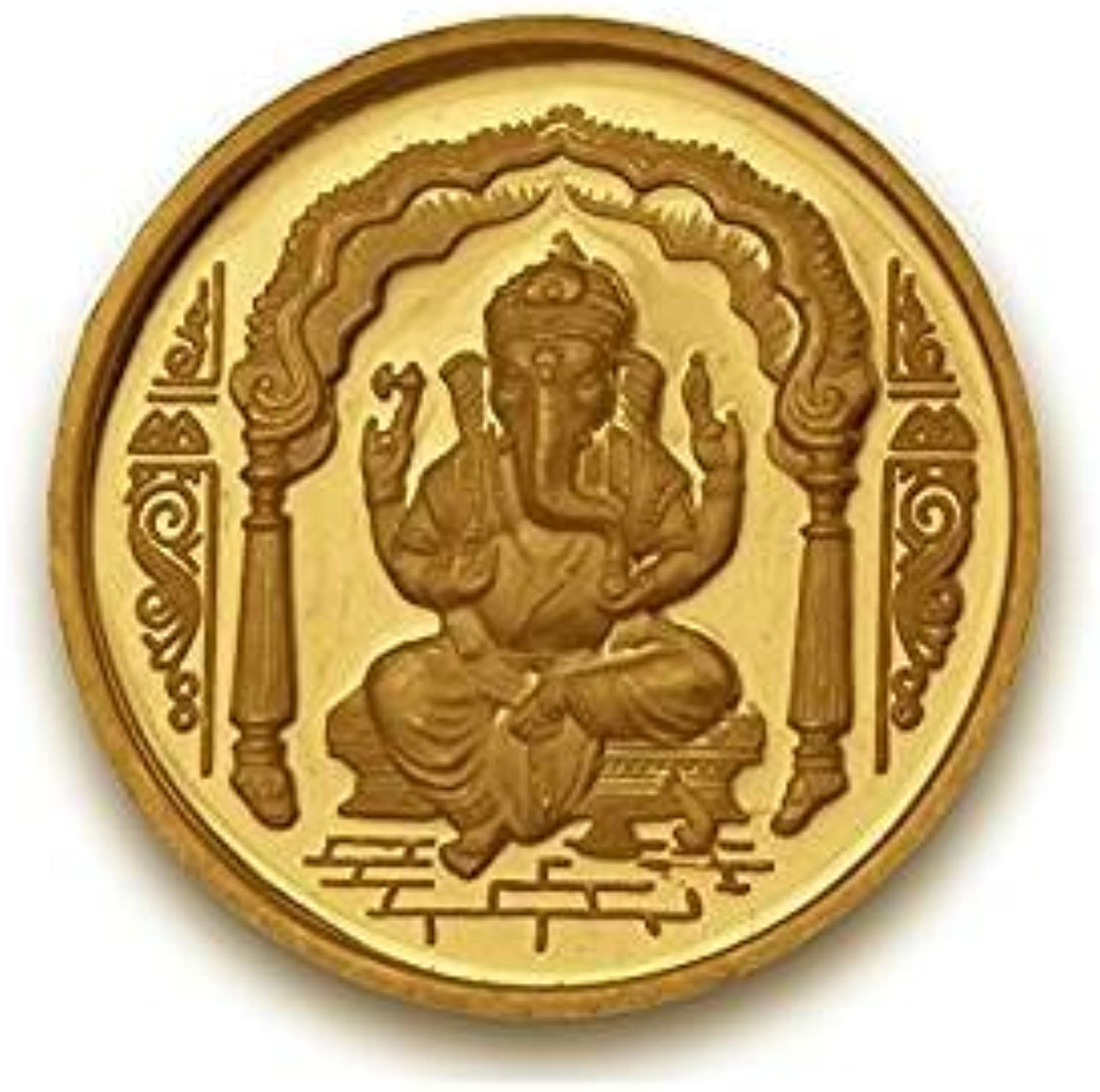 Ganesh Coin in Pure 24k Yellow gold 2 Gram Certified - Gift Box