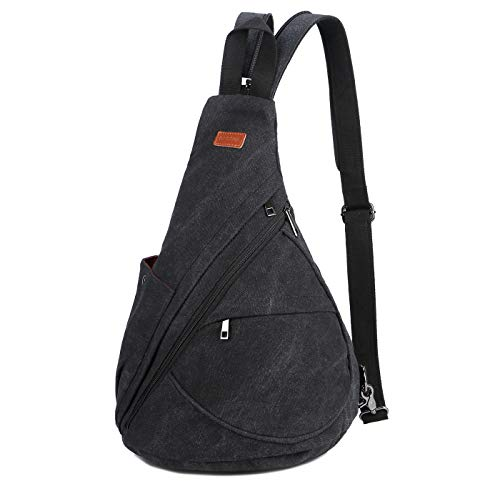 BAOSHA Canvas Sling Bag Small Crossbody Backpack Shoulder Casual Daypack Outdoor Cycling Hiking Travel XB-10 (Black)